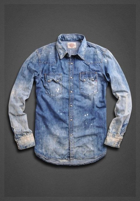 Hajotrawa Mens Slim Button-Down Jean Denim Long Sleeve Faded Washed Shirts