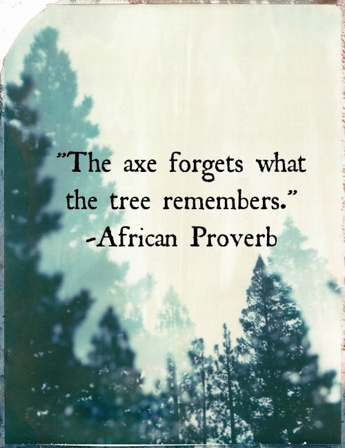 The axe forgets what the tree remembers. African proverb (Those who were hurt remember - too often the world forgets.)