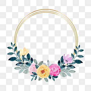 Gambar Karangan Bunga Kuning Pink Dengan Bingkai Emas Clipart Karangan Bunga Bunga Pernikahan Png Dan Vektor Dengan Latar Belakang Transparan Untuk Unduh Gra In 2021 Pink Flowers Background Watercolor Flower Wreath
