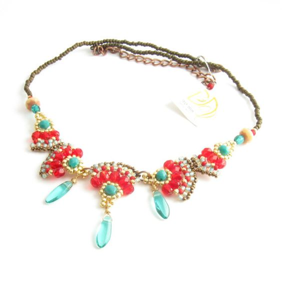 Red turquoise necklaceholiday gift for her beaded by Tamar Keny Isarel hand made