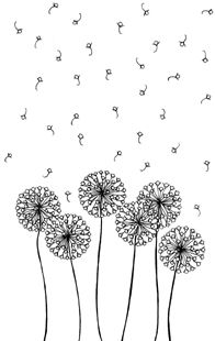 embroidered dandelion.  Would be pretty on burlap, done in white.