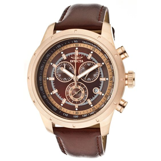 Invicta Men's Speciality Chronograph Watch In Brown & Rose Gold