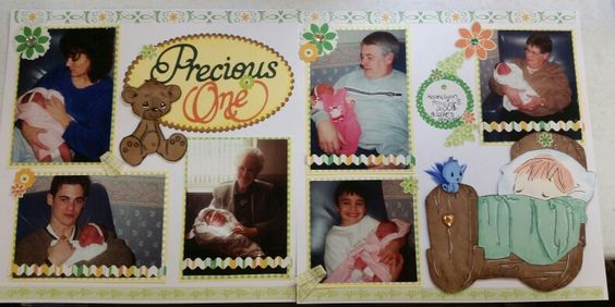 Precious one,  new baby scrapbook layout www.justkitting.citymax.com