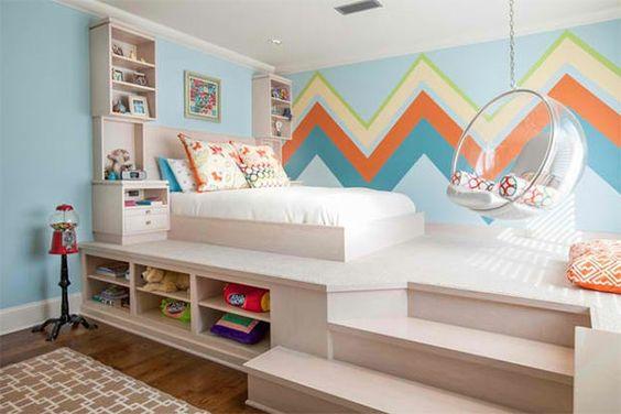 jugendzimmer m dchen wandtapete zigzag muster bett staufl che melek pinterest bettrahmen. Black Bedroom Furniture Sets. Home Design Ideas