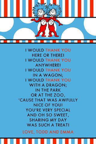 Dr Seuss Thank You! my students and teaching buddies would love - thank you notes for teachers