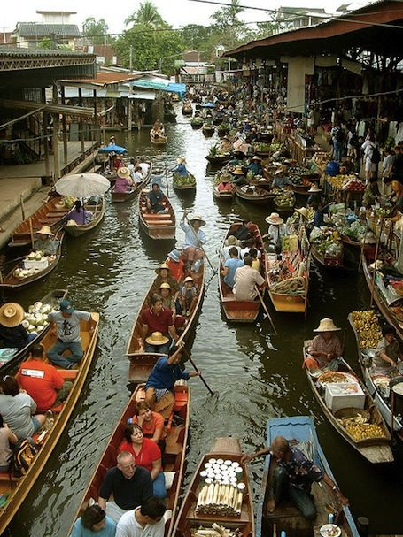 Floating market in Thailand (and 40 other markets around the world).