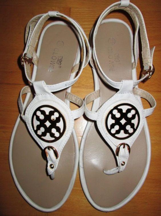 * * * CLOWSE Zehentrenner-Sandaletten weiß, Gr.39 * * *