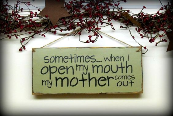 Funny Wooden Sign / Sometimes When I Open My Mouth My Mother Comes Out / on Etsy, $15.95
