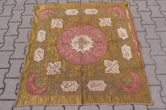 i3a01- Alte orientalische Decke/ Wandbehang, bestickt