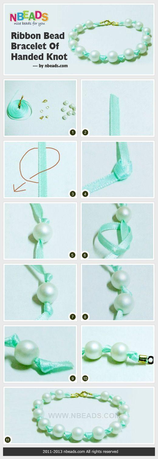 making ribbon and pearl bracelet