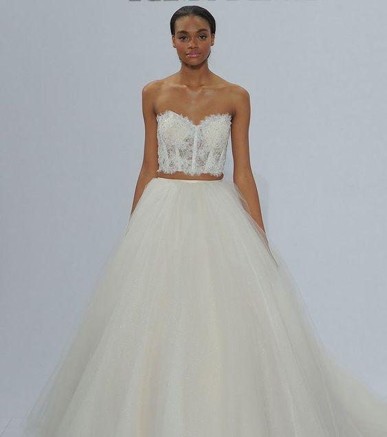 robe mariée deux pièces style princesse bustier coeur dentelle