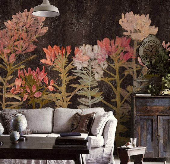 papier peint floral art chambre salon r tro fleur abricot mur murale grande impression ivoire. Black Bedroom Furniture Sets. Home Design Ideas