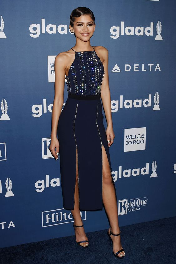 2 April Zendaya looked lovely in a navy David Koma dress for the Glaad Media Awards in Los Angeles.   - HarpersBAZAAR.co.uk