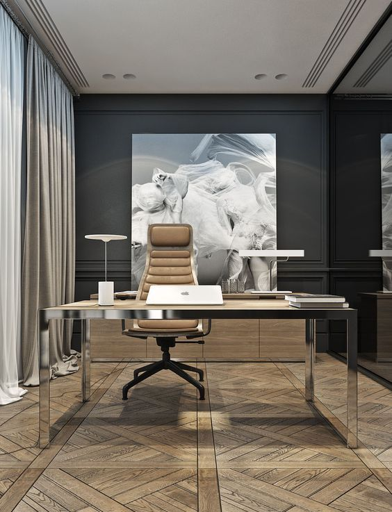 An Ultra Modern Home Office With A Black Wall And A Glass One A Modern Desk With A Leather Corporate Office Design Business Office Design Modern Office Design
