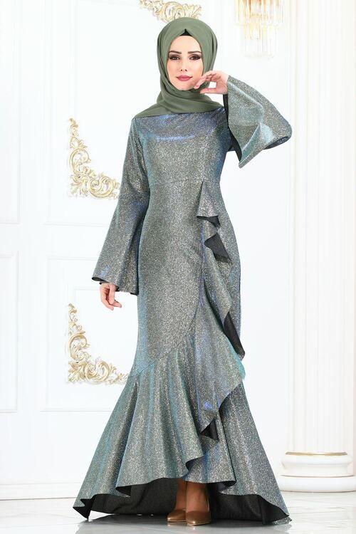 Modaselvim Elbise Firfir Detay Simli Elbise 2160ms212 Haki Model Baju Wanita Wanita Model