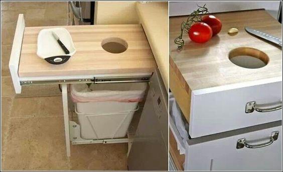 Kitchen drawer cutting board above trash can kitchen for Diy cutting board storage