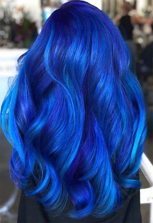 65 Iridescent Blue Hair Color Shades Blue Hair Dye Tips Dyed