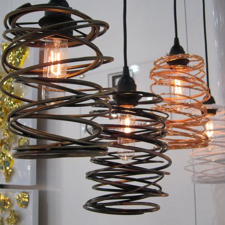 Single Spiral Nest Pendant by Ridgely Studio Works:  Hand rolled steel construction means that no two will ever be identical, and each is truly a work of art.
