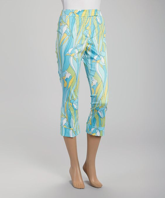 This Turquoise & Yellow Tulip Pants by Rafael is perfect! #zulilyfinds