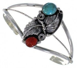 Southwest Jewelry   Turquoise Coral Bracelet   Silver Jewelry