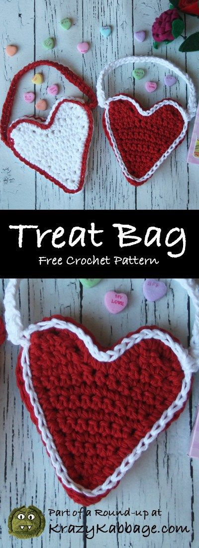 Valentine Hearts Free Crochet Patterns – Krazy Kabbage #valentine's treat bag #heart shaped bag