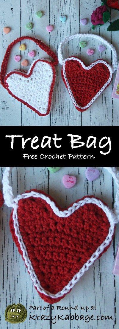 Valentine Hearts Free Crochet Patterns – Krazy Kabbage #valentine's treat bag #heart shaped bag