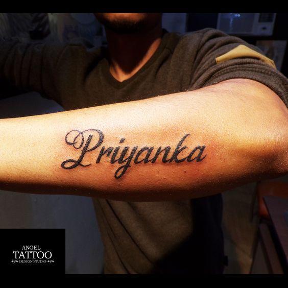 Priyanka Name Tattoo Made At Angel Tattoo Design Studio Gurgaon Name Tattoos Are Always In Trend Name Tattoo On Hand Name Tattoos Angel Tattoo Designs
