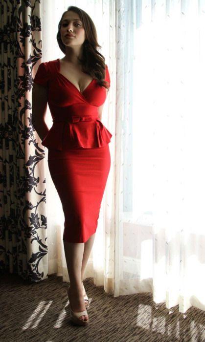 Kat Dennings in red: