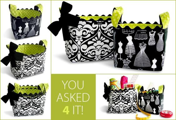 Structured Fabric Baskets tutorial. Would be great Mother's Day Gift! So many uses and can be made with favorite colors or themed fabric to make them personal.