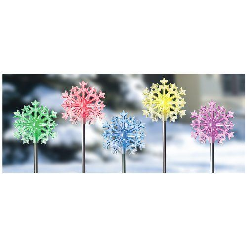 "5 Snowflake Outdoor Lights by IDC. $19.99. 5 - Pk. of Snowflake Outdoor Lights for holiday cheer! High intensity, low voltage LED Lighting! Set includes 5 spectrum color-changing Snowflake Lights for sharp yard decorating. Plug-in connectors and 10W transformer for easy installation; Includes 26' of cord; Lights are 10 times brighter than solar lighting; Total length of each Light with ground stake is approx. 30"". Order Yours Today! 5 Snowflake Outdoor Lights"