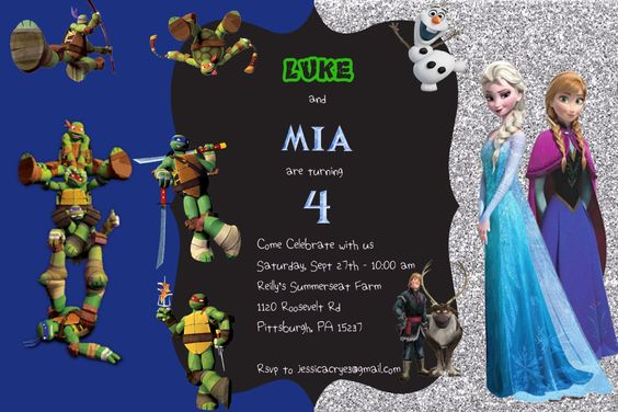 Frozen Teenage Mutant Ninja Turtles Boy Girl Birthday Invitation by MiabbyDesigns on Etsy