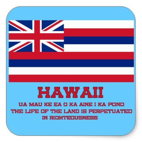 Hawaii State Flag And Motto Sticker Zazzle Com Hawaii State Flag State Flags Hawaii