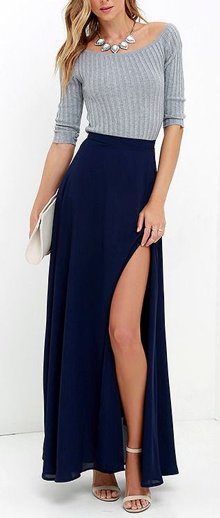 An exotic destination with cocktails and dancing at sunset sounds like perfect place for the Seaside Soiree Navy Blule Maxi Skirt! Breezy woven poly flows from a high banded waist into a full maxi skirt with thigh-high slit.  #lovelulus