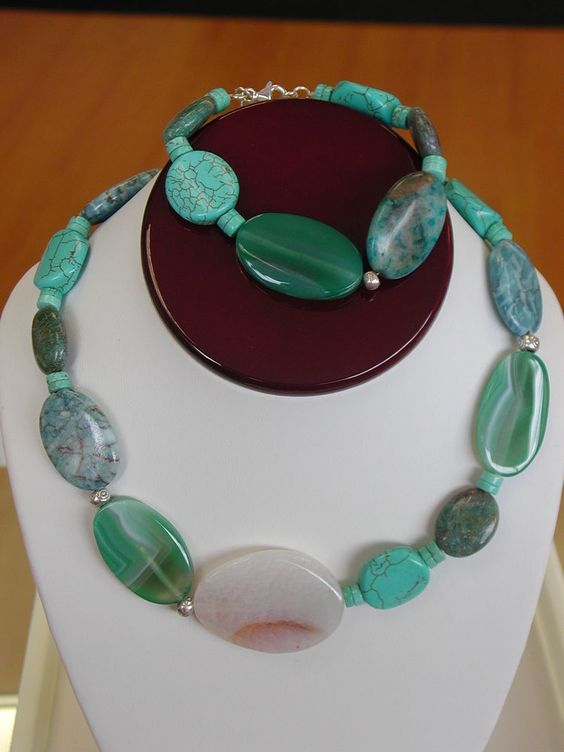NATURAL STONE STERLING SILVER NECKLACE & BRACELET #Jewelry #Deal #Fashion