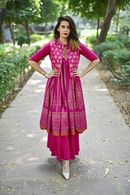 Stitching Styles Of Pakistani Dresses Purple Jacket Style Shirt