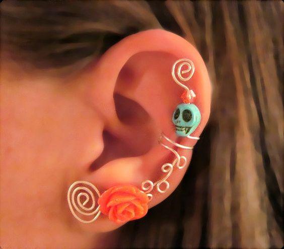1 Non Pierced Ear Cuff - Halloween, Dia de los Muertos, Samhain Skull Rose Turquoise Coral/Orange