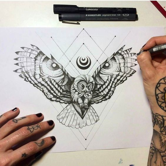 Dotwork Flying Owl And Geometric Drawings Tattoo Design Flying Tattoo Owl Tattoo Drawings Geometric Owl Tattoo