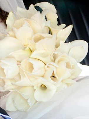 tulips, orchids and calla, my dads favorite flower, paired with mine!