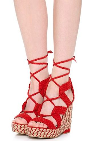 love these red lace up wedges