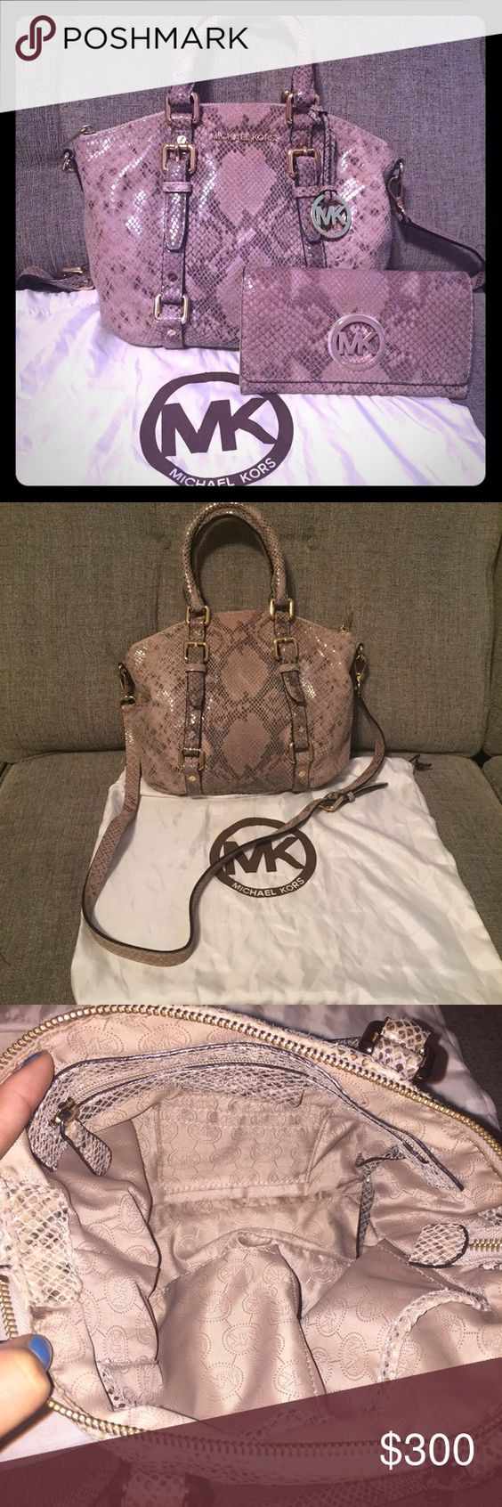 MK snakeskin bag and matching wallet up for trade Excellent used condition Micheal Kors snakeskin leather bag with matching continental wallet. Removable shoulder strap. Gold hard wear. The wallet is the long Micheal Kors wallet, it's the size of a dollar bill. This set is just to die for. Trade value 575$ Michael Kors Bags Shoulder Bags