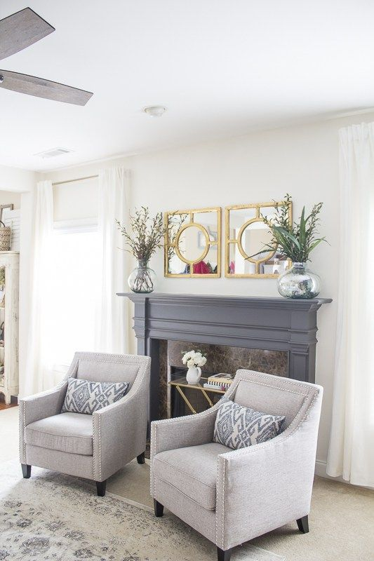 Not These Chairs But This Is How I Picture The Fireplace Side Of The Living Room No Tv Living Room Decor Traditional Living Room Bench Living Room Makeover