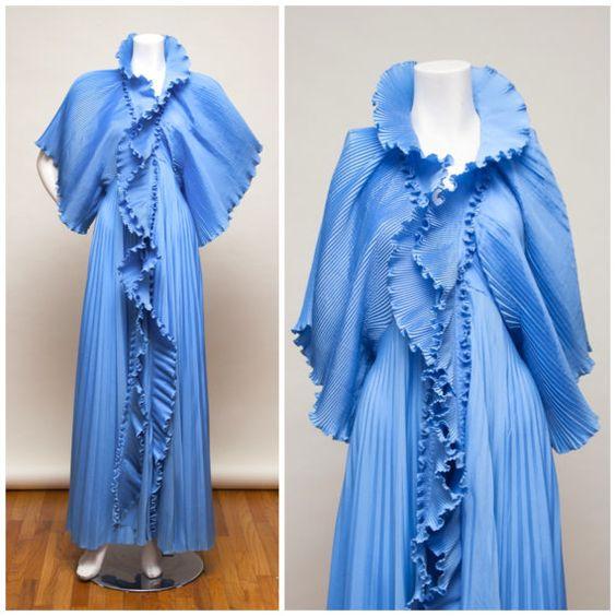 Zandra Rhodes 70's Dress / Jacket Maxi with accordion pleating Avant Garde