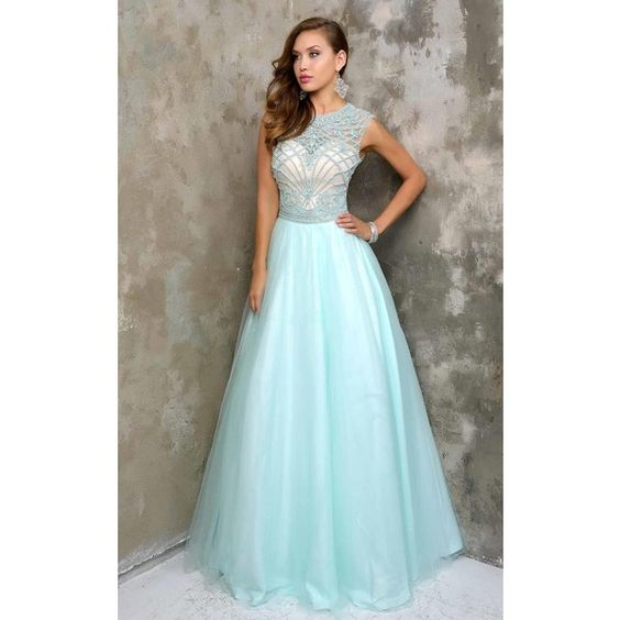 Nina Canacci 7332 Prom Ball Gown Long High Neckline Sleeveless ($398) ❤ liked on Polyvore featuring dresses, gowns, formal dresses, blue formal gown, formal evening dresses, long gowns, high neck prom dresses and blue ball gown
