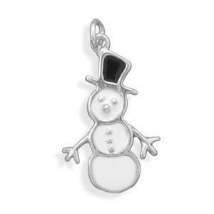 White/Black Snowman Charm