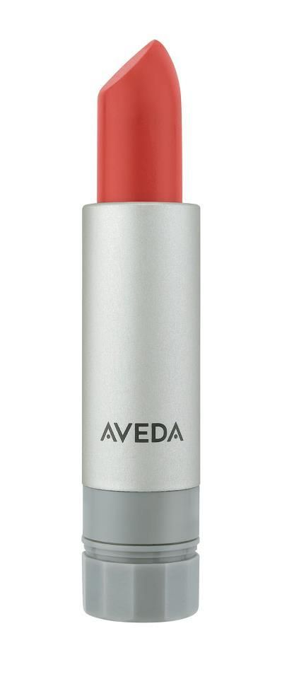Coral is THE color of the year, says Janell Geason, Global Educator for Aveda Makeup. Apply Nourish-Mint™ Smoothing Lip Color in Star Coral to the center of the lip & press lips together. Apply a small amount of Rehydrating Lip Glaze Coral Sea for a glossy effect.