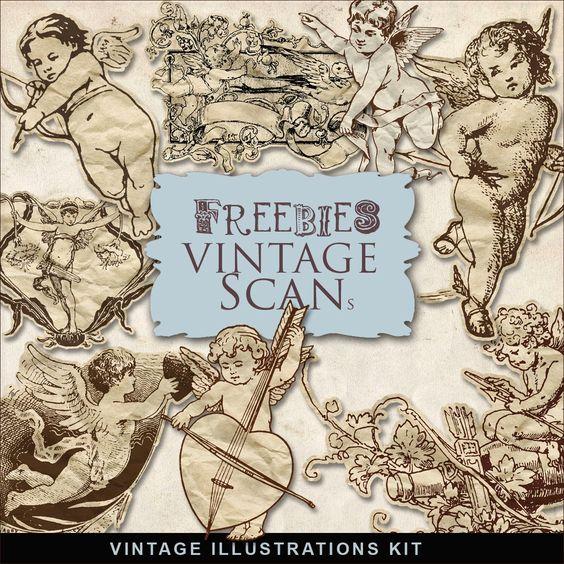 * Freebies * : Far Far Hill - Freebies Vintage Scans -  Elements Kit - Vintage Angels Illustrations (Angel, Cupid, Valentine, Vintage)