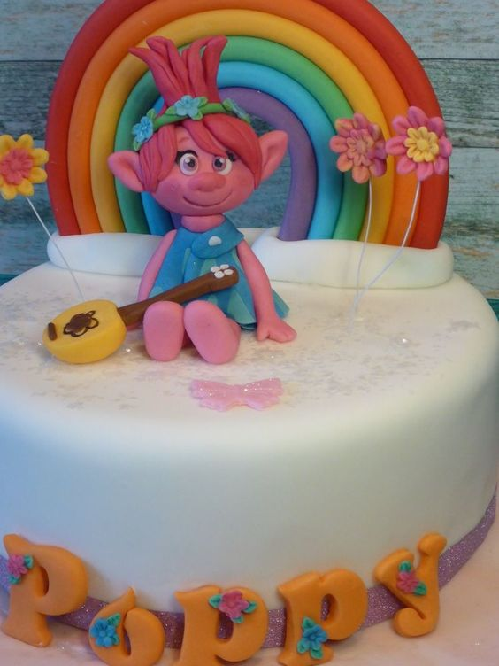 Princess Poppy Troll,Rainbow,Handmade,Personalised,Birthday,Cake topper: