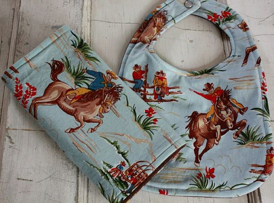 Cowboy Western Baby Bib And Burp Cloth Barn by HiHoSilverSpoon, $16.00