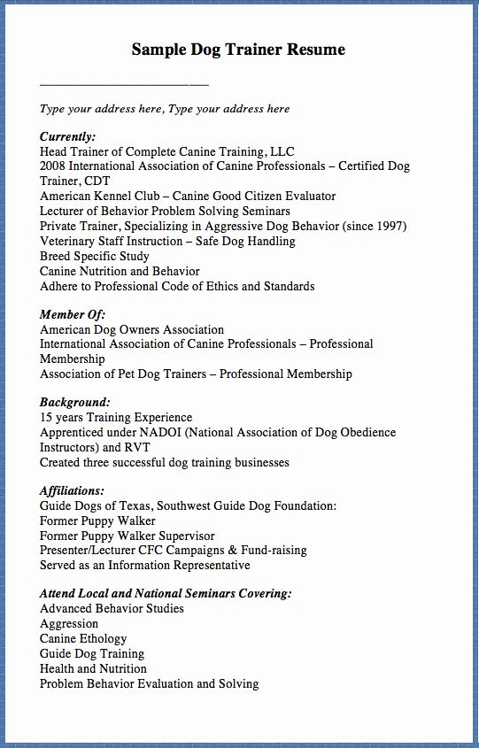 Dog Training Contract Template Unique Sample Dog Trainer Resume