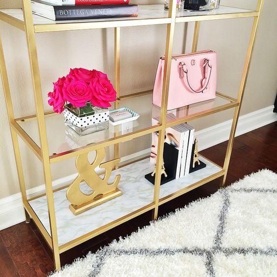 StylishPetite.com | Gold marble shelves DIY Ikea hack - click the link for details!: